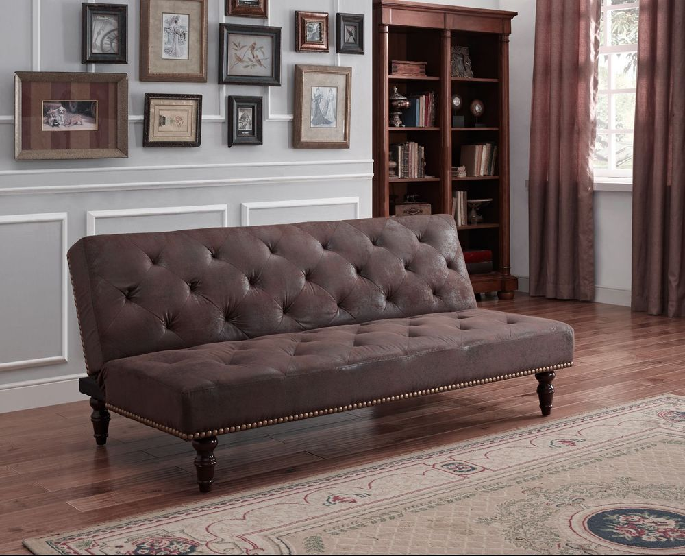 Best Details About Vintage Faux Suede Leather Brown Sofa Bed 400 x 300