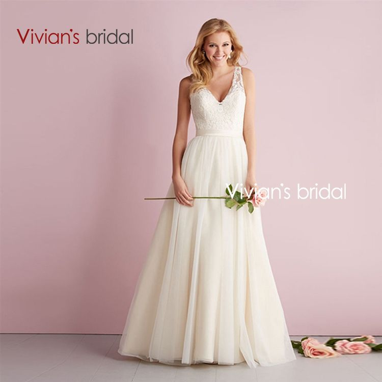 Vivian\'s Bridal Simple Cheap A Line Lace Wedding Dress Bride Dress ...