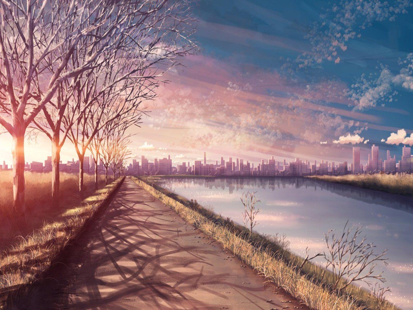 Anime Original Landscape Sunset Sky Cloud Tree City River