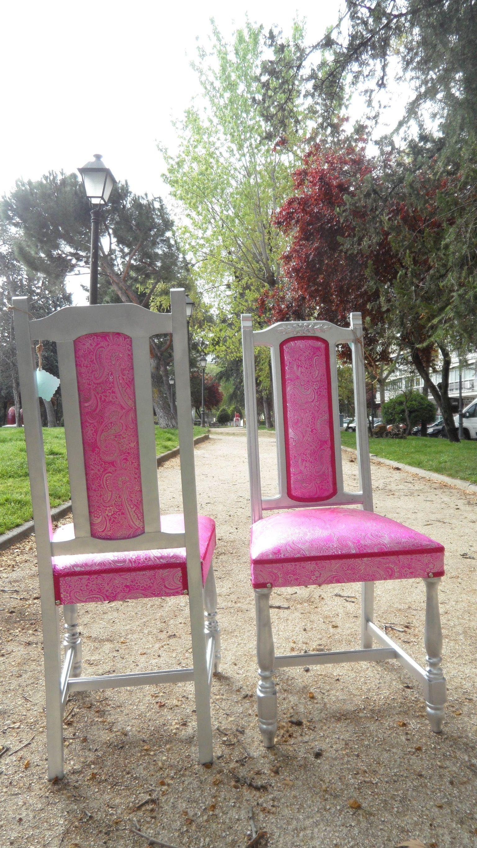 Espectaculares sillas antiguas restauradas en plata y con tejido de cachemir en rosa y plata - Sillas antiguas restauradas ...