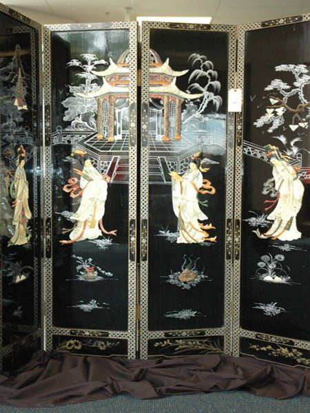 Antique Japanese Folding Screen, Black Lacquer And Inlaid
