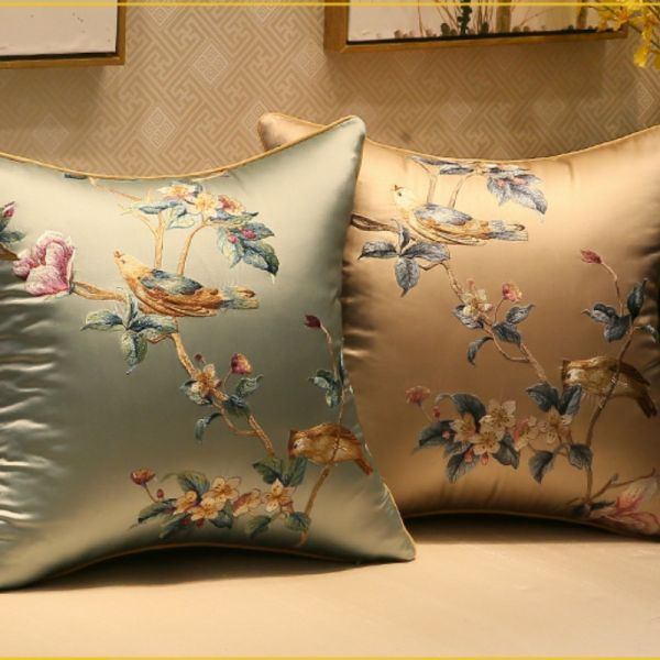 Rp 236,525 | DUNXDECO Cushion Cover Decorative Pillow Case Modern Fresh Bird Flora Elegant Embroidery Coussin Sofa Chair Cushion Cover