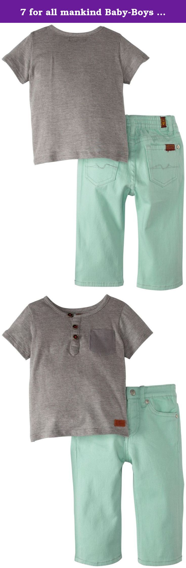 7 for all mankind Baby-Boys Newborn Striped Henley and Short Set ...