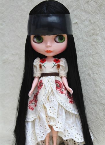 """12/"""" Neo Blythe Doll From Factory Jointed Body Super-black Light Pink Long Hair"""