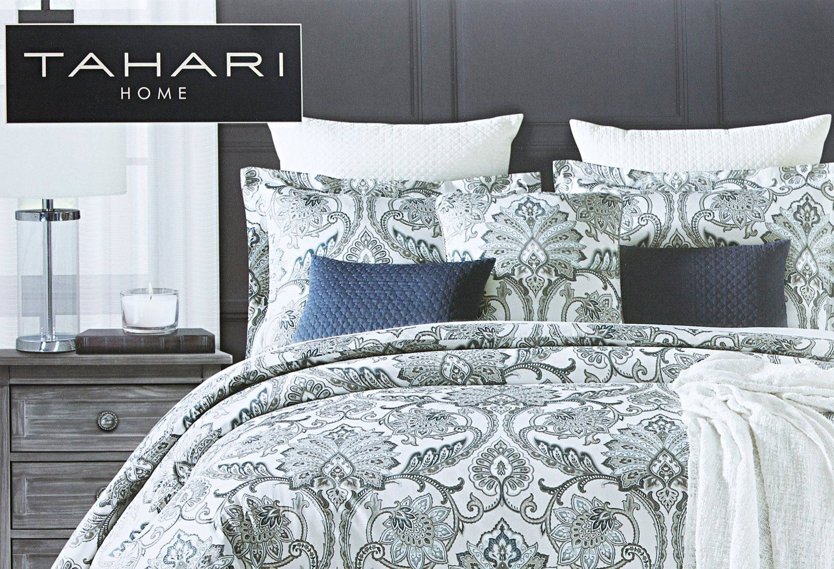 Tahari Home 3pc King Or Queen Duvet Cover Set Large Medallion Grey