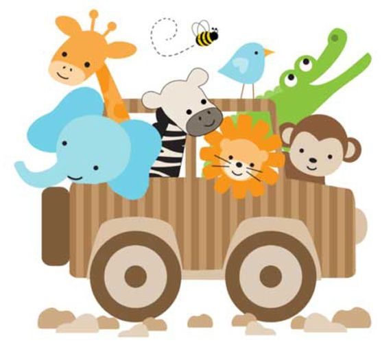 Safari baby nursery decor jungle animal jeep mural decals for Baby jungle mural
