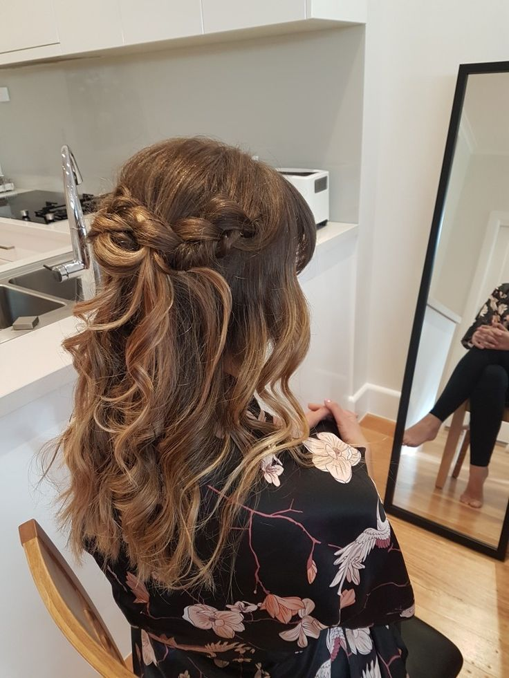 Bridesmaid hair  half up loose braid with waves and fringe #loosebraids