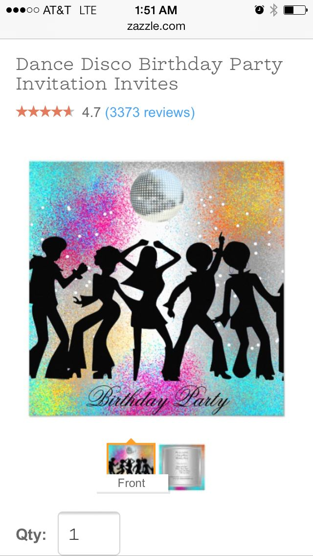 Disco party invitation on zazzle.com   Party party   Pinterest ...