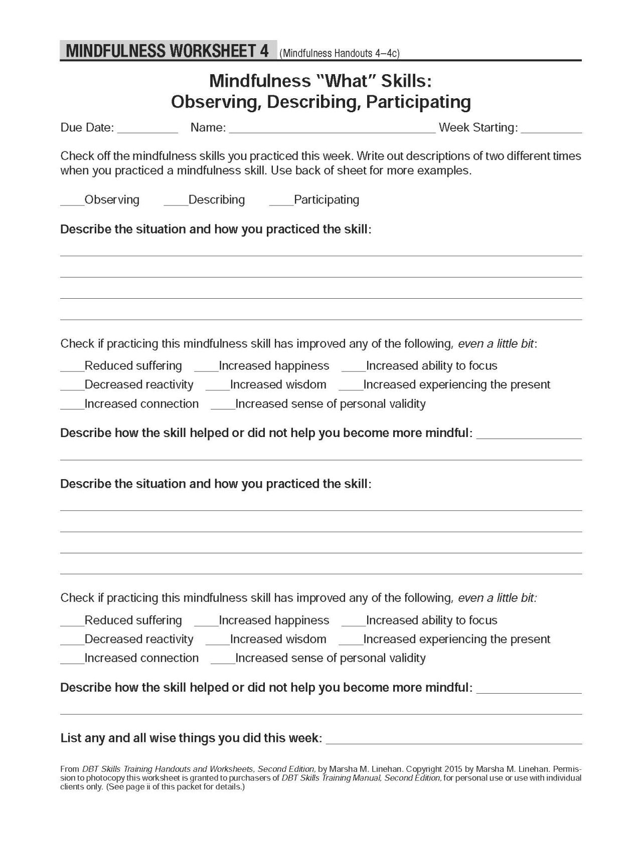 Worksheets Dbt Skills Worksheets your life matters therapy pinterest dbt self help resources mindfulness observing describing participating the worksheets accompany handout 4
