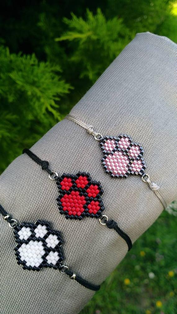 Miyuki bracelet-Pet lover gift- Pet paw print bracelet-Cat lover gifts- Pet lover jewelry – Cat lover gifts – Dog lovers gift idea,paw jewel