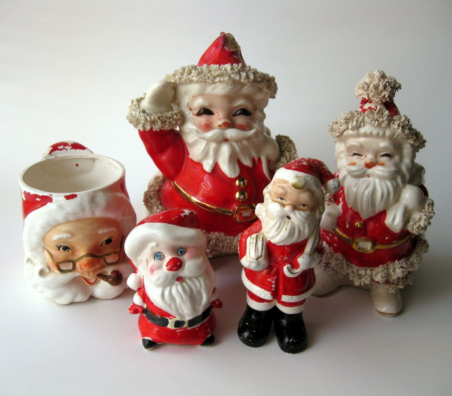 Lot Of 5 Vintage Christmas Decorations Kitsch Santa Claus: Lot Of 5 Vintage Shabby Santa Claus Ceramic