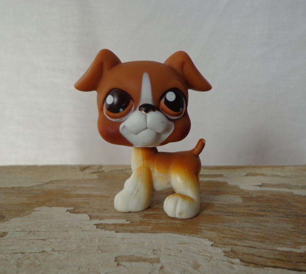 LITTLEST PET SHOP (LPS) #25 Brown/White Boxer Puppy Dog w ...