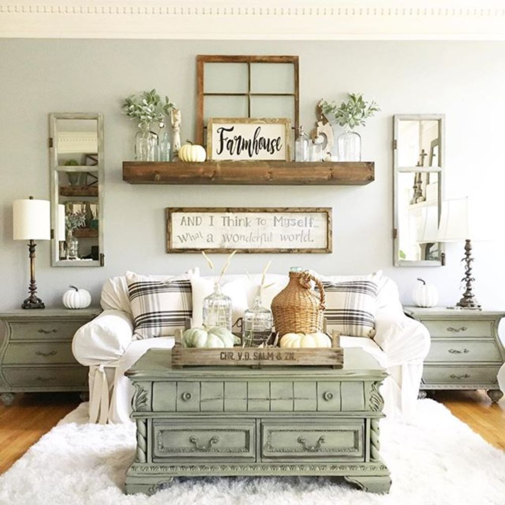 Pin by madison thompson on decor modern farmhouse - Home decorating ideas living room walls ...
