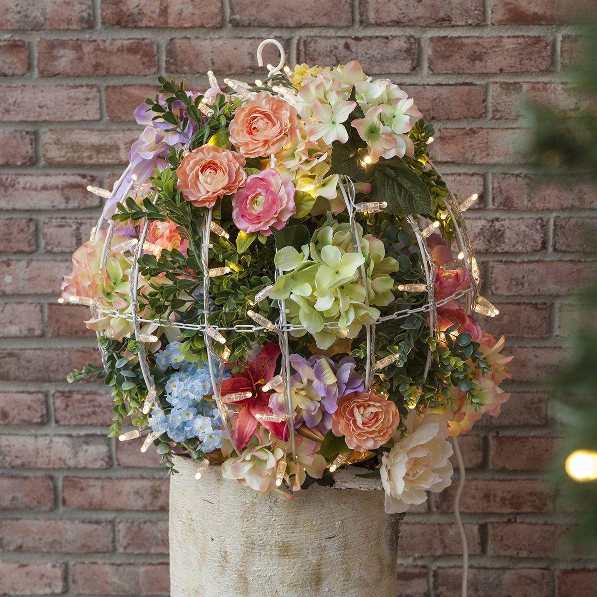 Create flower light balls using silk floral
