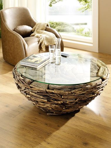 Salon Fauteuil Cuir Table Basse Ronde Plateau Verre Helline Driftwood Furniture Driftwood Table Twig Furniture