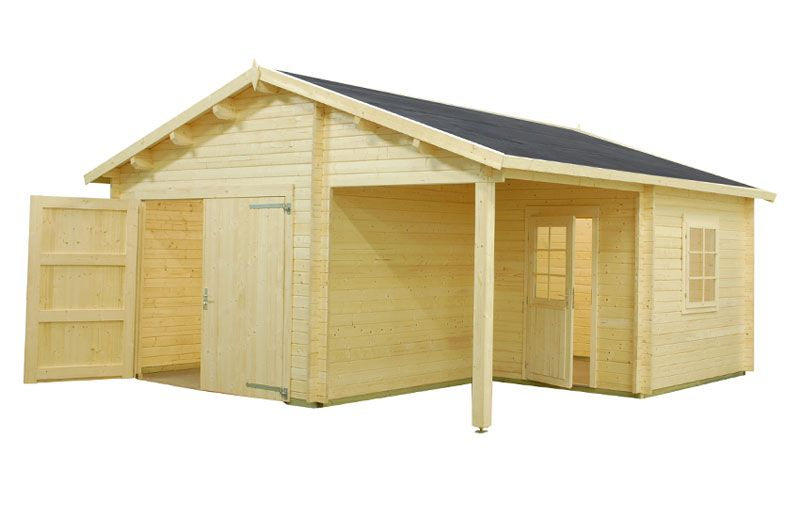 Such wooden garage together with a carport and separate entrance is - garage ossature bois toit plat