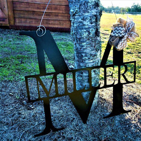 Save 10% Monogram Door Hanger, Front Door Wreaths, Wedding Decor, Home Decor, Wedding Gift, Anniversary, Housewarming Gift, Family Name Sign