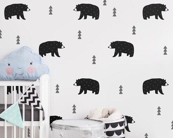 bear wall decals - nursery decals, woodland decals, tree wall decals