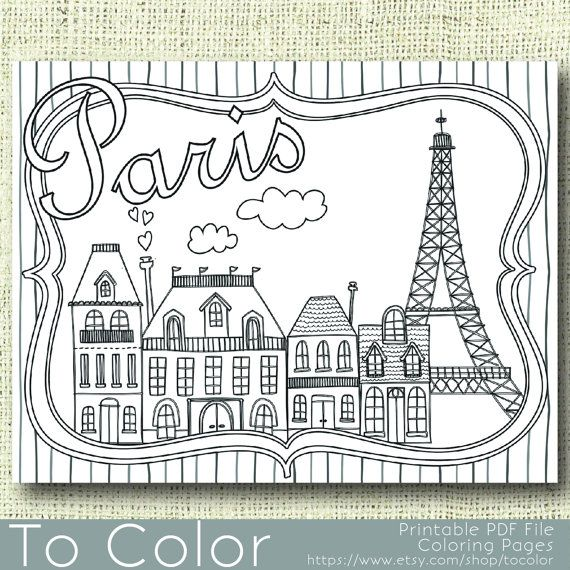 Printable Paris Coloring Page for Adults, PDF / JPG, Instant ...