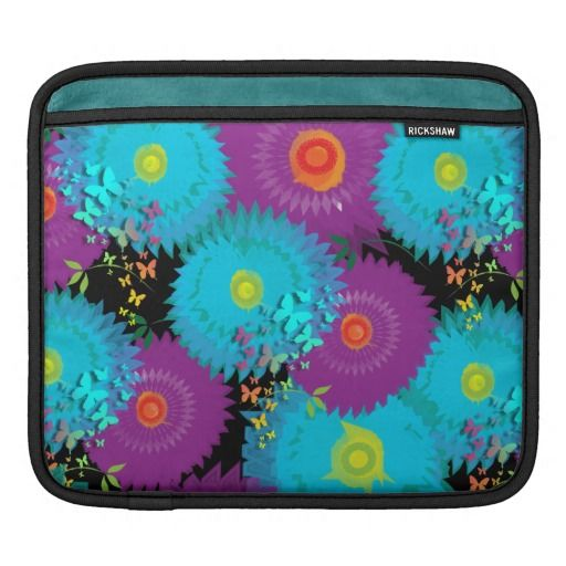 Summer Flowers and Butterflies Teal and Purple Mix iPad Sleeve