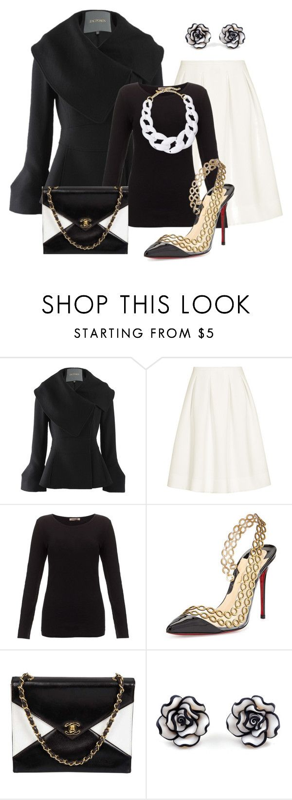 """Black and white"" by tatajrj ❤ liked on Polyvore featuring Zac Posen, Reiss, Jigsaw, Christian Louboutin, Chanel and Kenneth Jay Lane"