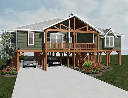elevated home designs. House Plan 3481VL  Elevated Living Beach house plans Storm surge and
