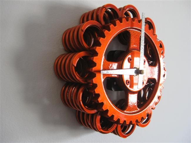 cool automotive wall art | Recycled Engine Parts Clock