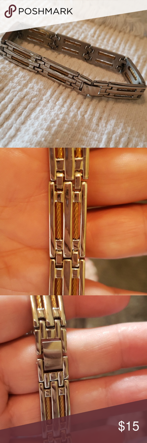 1913 Stainless Steel Men Bracelet 2 Tone Bracelets For Men Mens Accessories Jewelry Bracelets