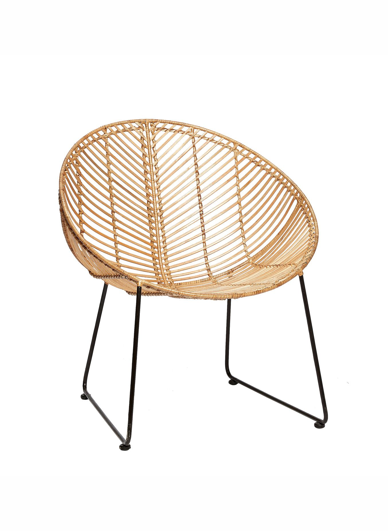Round Rattan Chair In Natural Colour From Hubsch Interior.