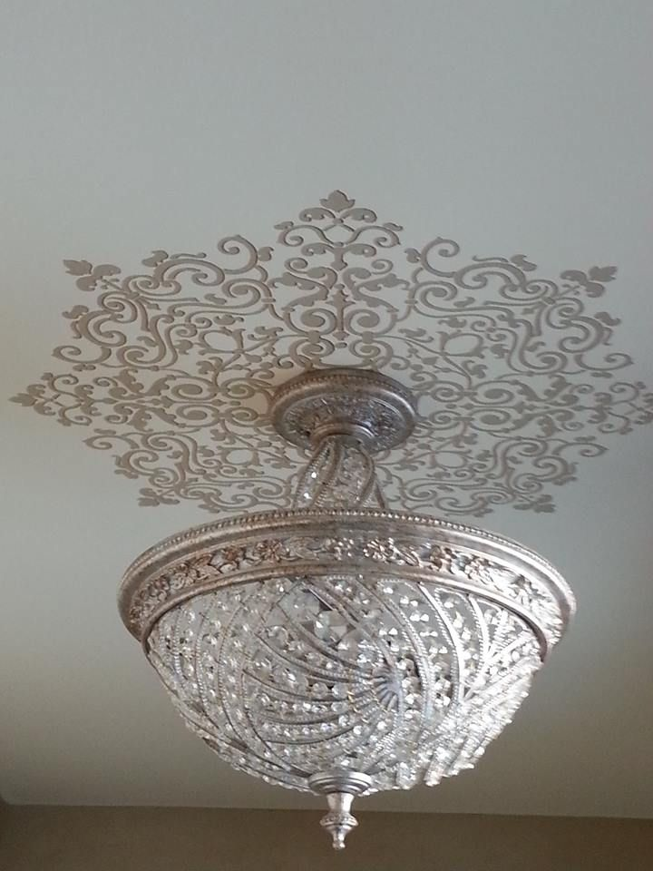 Grand Ceiling Medallion Stencils Around Light Fixture Painted By