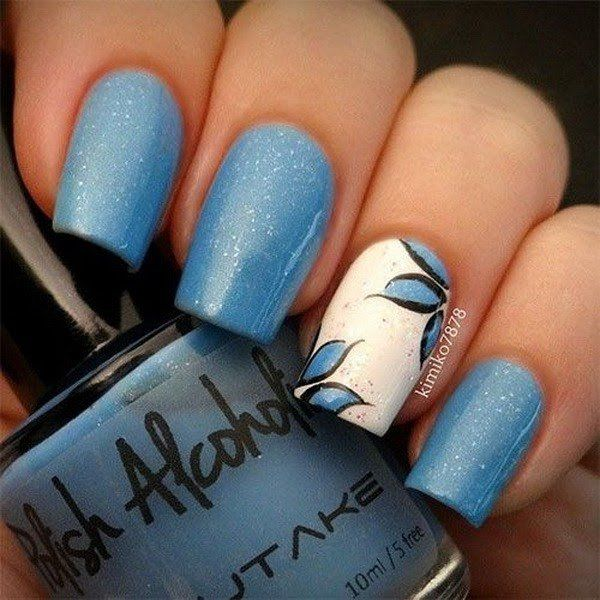 40 blue nail art ideas pinterest flower nail art flower nails blue and white flower nail art design mightylinksfo