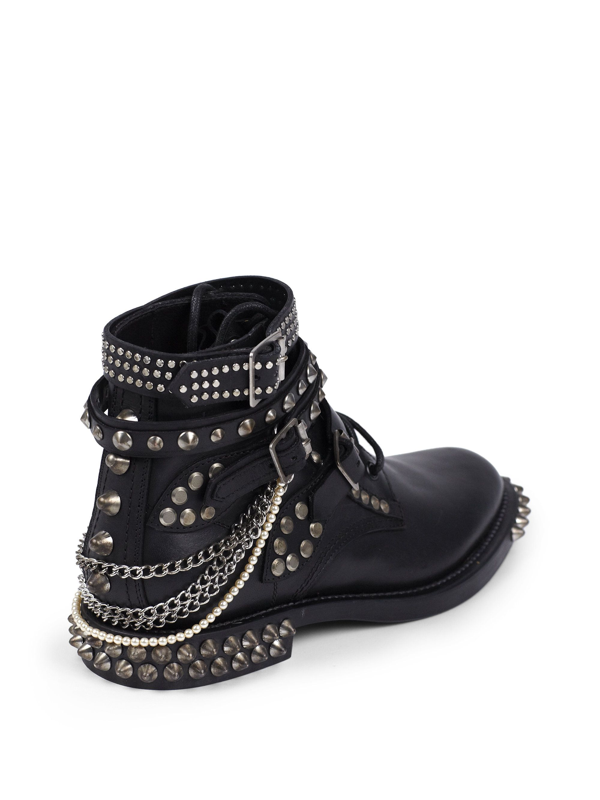 12c511c08af yves saint laurant bags - Saint laurent Rangers Embellished Leather Lace-up  Ankle Boots in .
