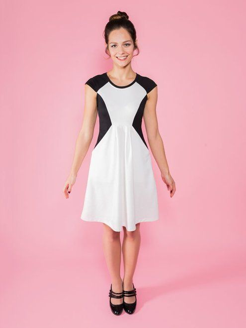 SEW A STYLISH AND COMFORTABLE DRESS!  Make your own Zadie dress with this paper pattern and step-by-step instructions. Designed for stretch knit fabrics, you can sew it on a regular sewing machine (no overlocker or serger needed) – hooray!  Throw on your Zadie dress for comfort and style at work or play. The dress has striking diagonal seams, concealing lovely (and practical!) in-seam pockets. The fitted bodice has a flattering empire waistline and round neckline finished with a neckband…