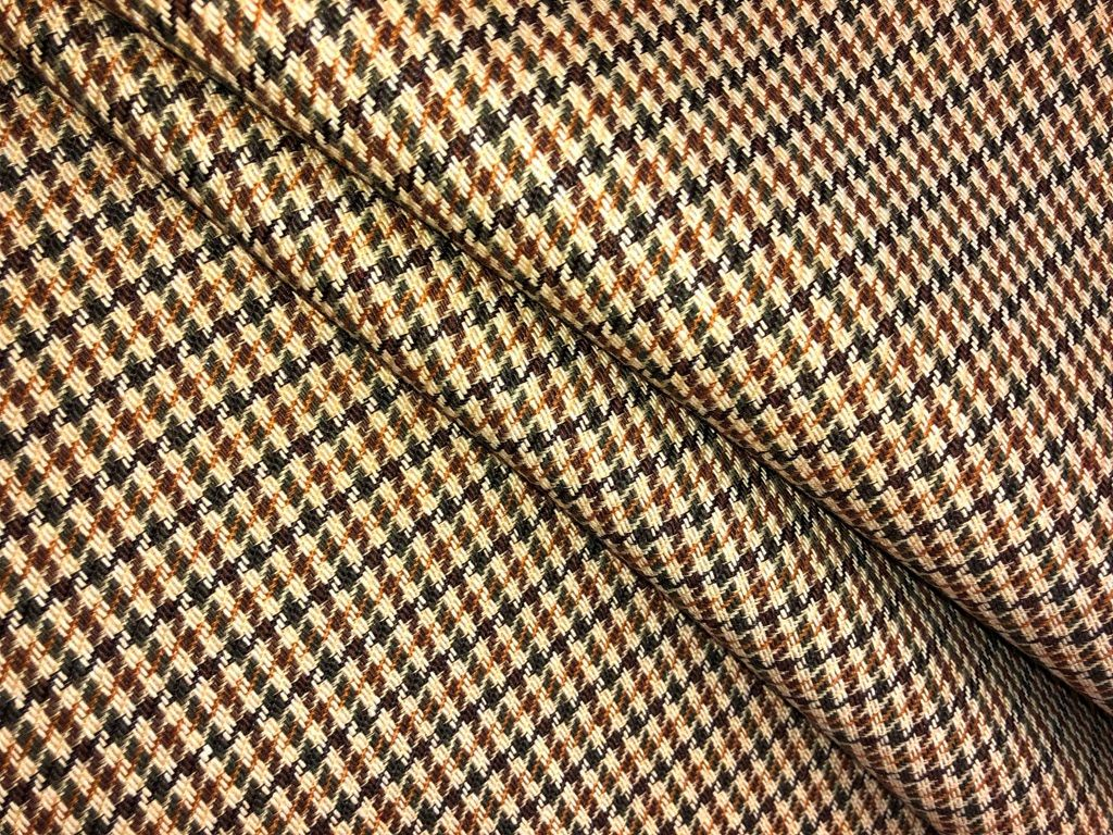 Brown On Tan Home Decor Fabric For Interior Design Cotton With Upholstery Backing Repeat 1 4 V 1 2 Houndstooth Pattern Home Decor Fabric Interior Decorating