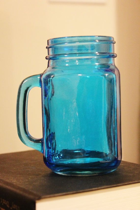 Aqua Blue Mason Jar Mug With Handle Colored By Designsbyembellish 9 00 Mason Jar Mugs Mason Jars Mason Jar Mug