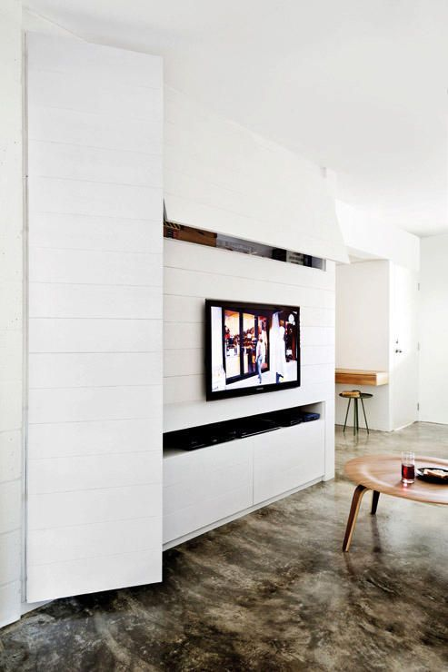 Charmant Hidden Wall Storage With Tv Mounted Tv Console Design, Living Room Tv,  Living Room