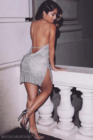 bb14f386d09 Alessandra Crystal Mesh Dress - Silver - MESHKI