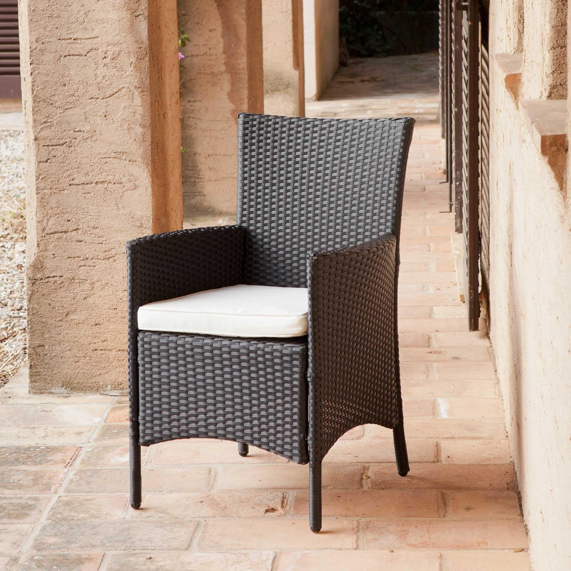 Chaises de jardin résine tressée noire | | BLACK & WHITE | | Chaise ...