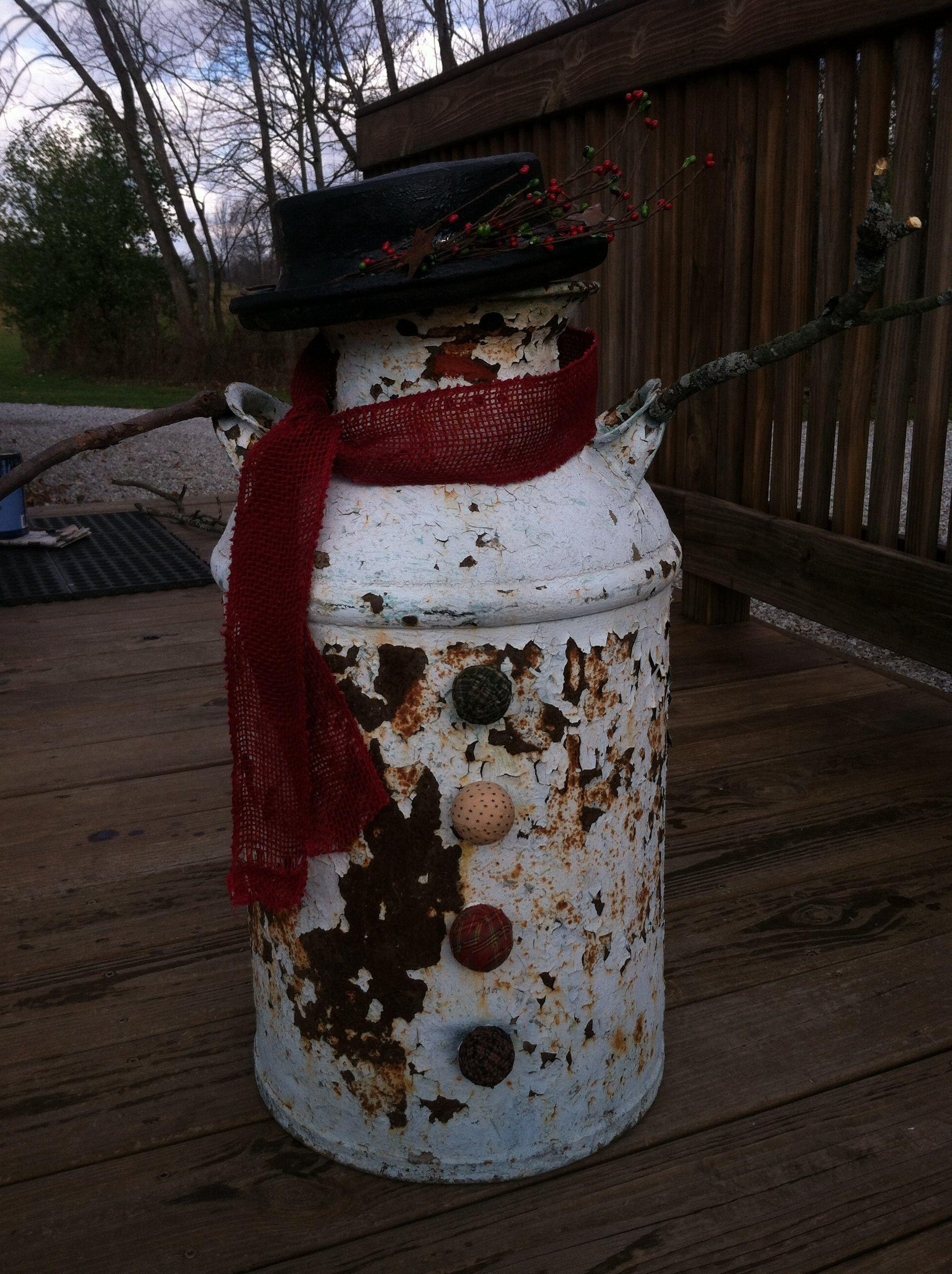 Snowman milk jug milk can snowman pinterest milk for Christmas crafts with milk jugs