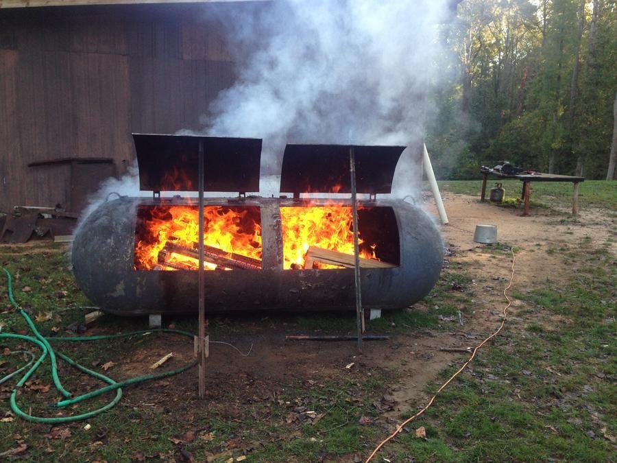 2 500 gal propane tank smoker build franklin style