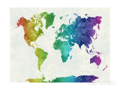 World map in watercolor rainbow watercolor rainbows and art prints world map in watercolor rainbow posters by paulrommer at allposters gumiabroncs Gallery