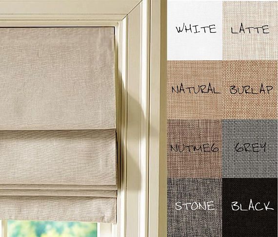 Custom Made Linen Look Flat Roman Shades Made To Order Up To 48