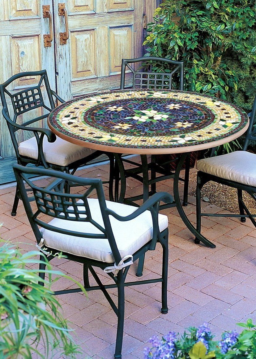 Knf Neille Olson Mosaics Tuscan Lemons Collection Frontgate In 2020 Mosaic Patio Table Tile Patio Table Patio Table Set