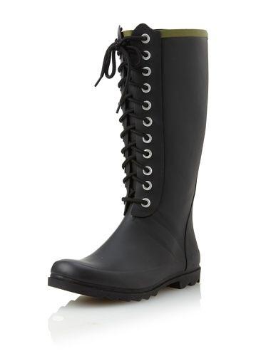 Chooka Women's Noir Lace-Up Rain Boot
