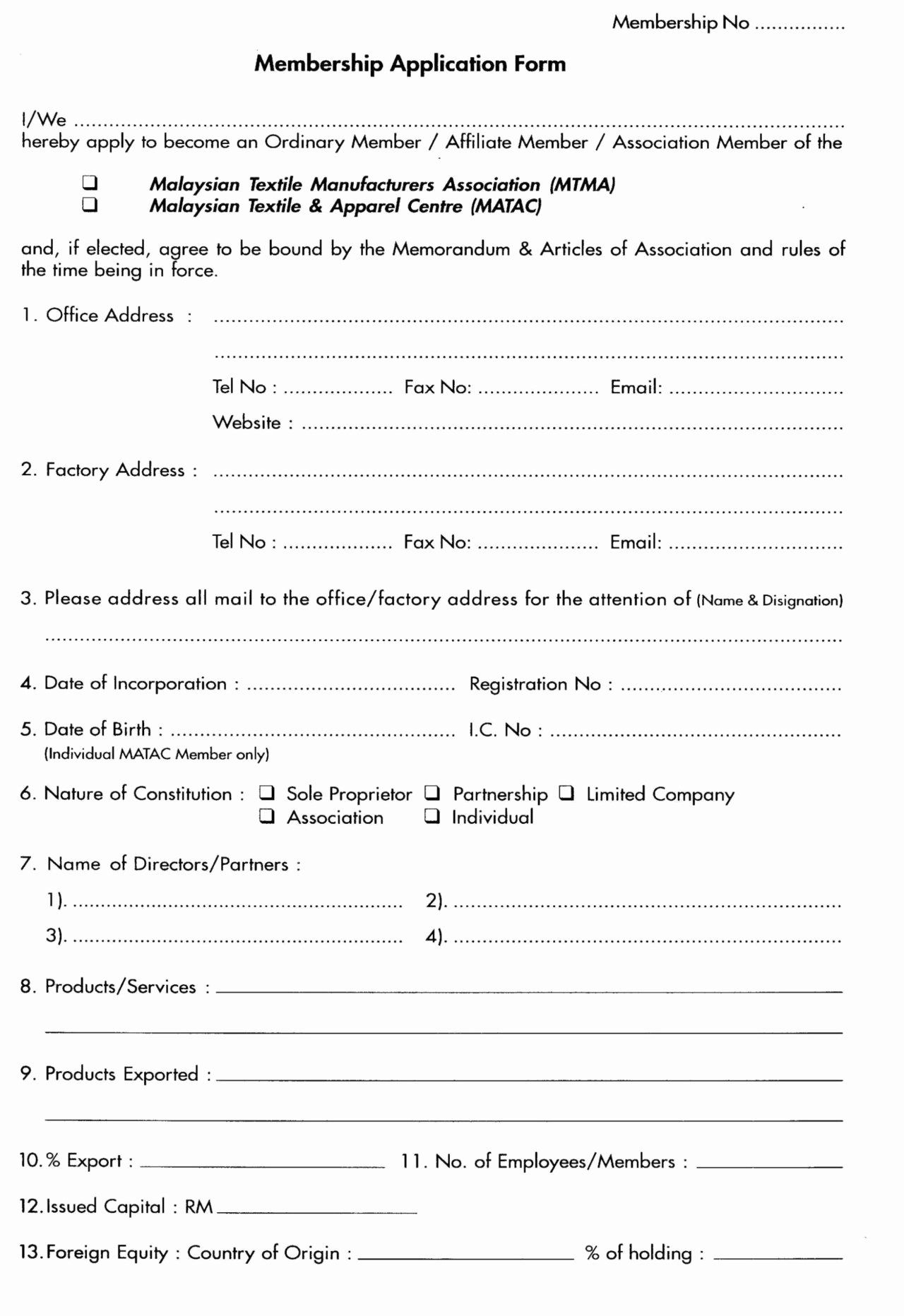 Membership Application Form Sample In 2020 Application Form