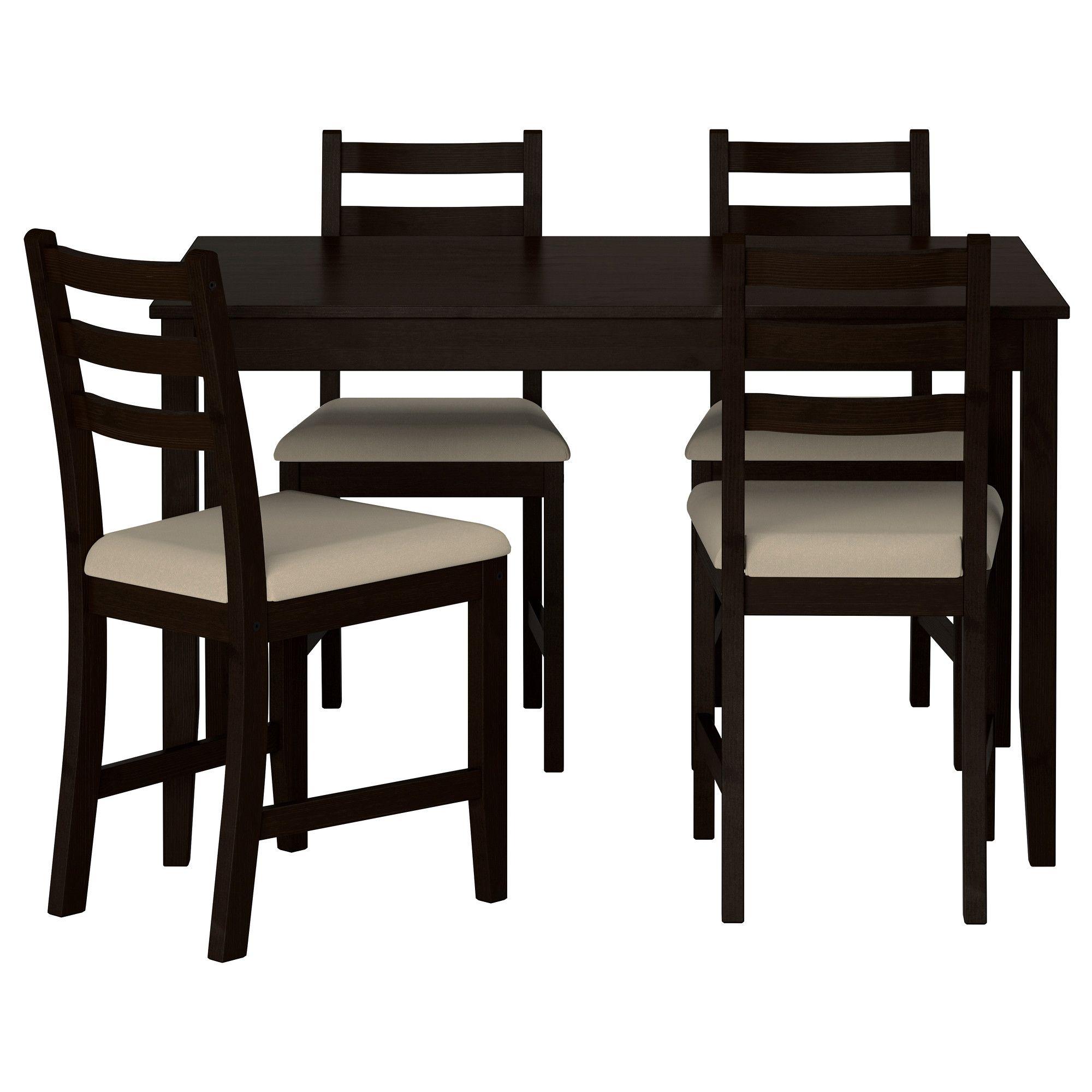 LERHAMN Mesa con 4 sillas, negro-marrón, Vittaryd beige | Ikea ...