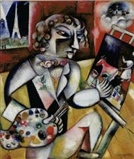L'autoportrait aux sept doigts, 1912–13, Marc Chagall; his seven fingers reflect the personal significance of the number seven to the artist. (Stedelijk.di.nl)