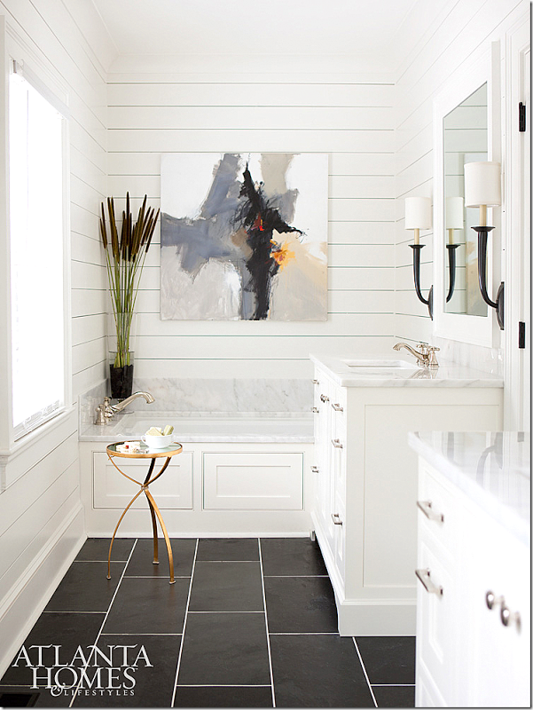 Here s a bathroom from the House Tour Brookhaven Cottage from We love that  the rustic shiplap is tied in with modern elements here. Flooring tile is Black Blizzard slate  Counters  backsplash are