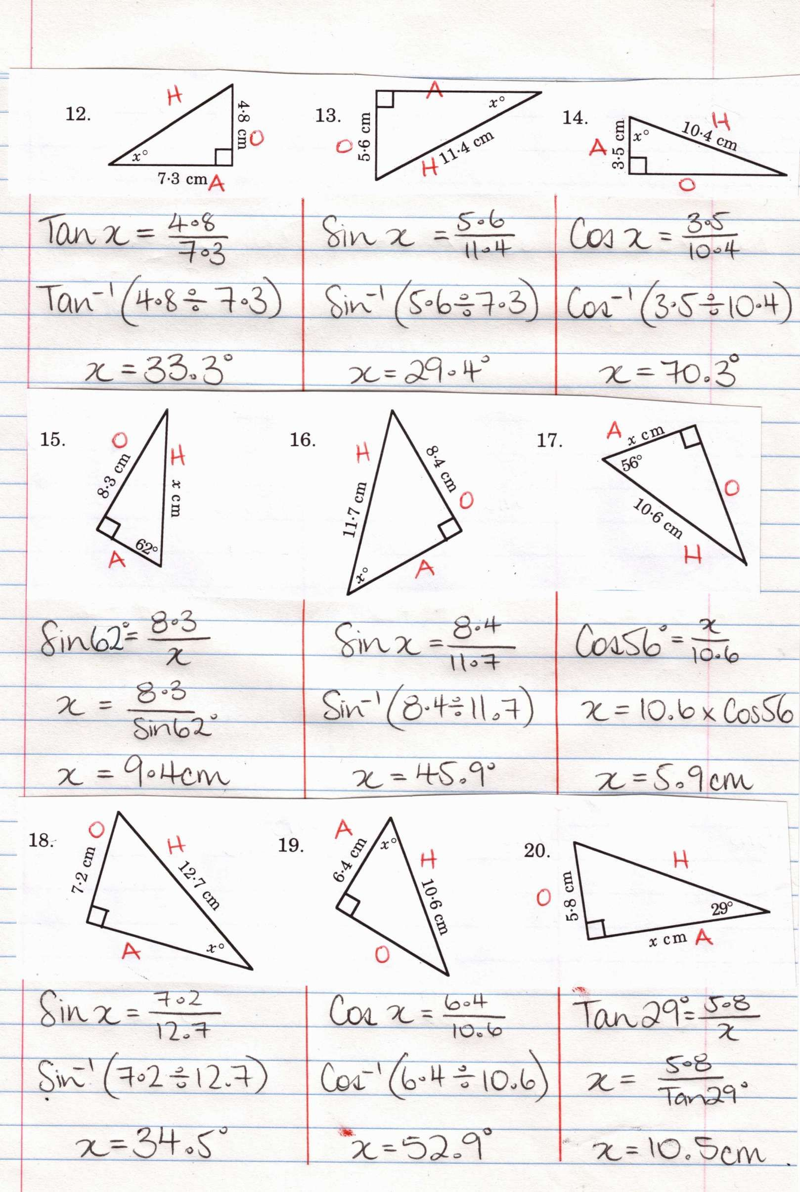 8 Cosecant And Secant Trig Ratio Worksheet Math Aide