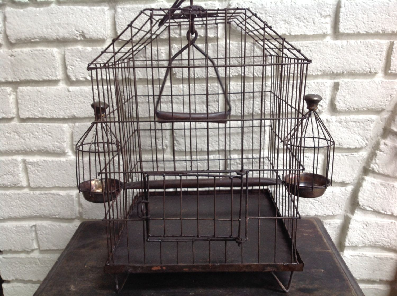 Vintage reproduction old metal birdcage by
